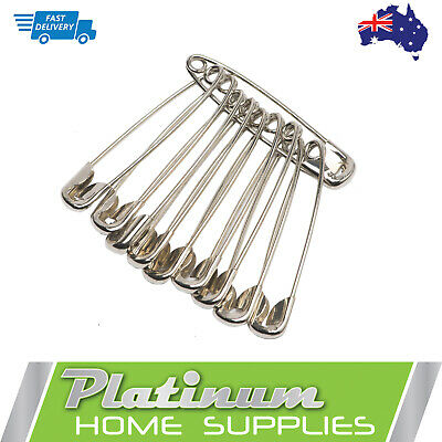 New Silver Large Safety Pins 10 pcs 50mm NIckel Plated Craft Sewing Quilt Work