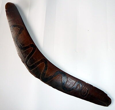Early Australian Boomerang Carved & Incised with Snake and Aboriginal Symbols