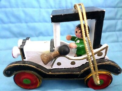Vintage Large Wood Man Driving Antique Model T Car Christmas Ornament Rare