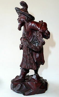 Chinese Carved Wood Fisherman Statue Antique Signed