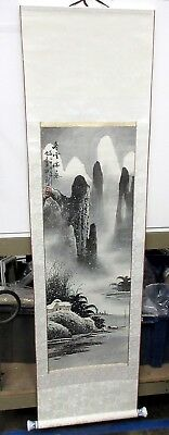 """Vintage Chinese Scroll Painting Of Mountains in the Snow Stamped 17 x 61.5"""""""