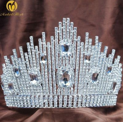 Queen Large Tiara Crown Austrian Rhinestones Headpiece Wedding Pageant Costumes