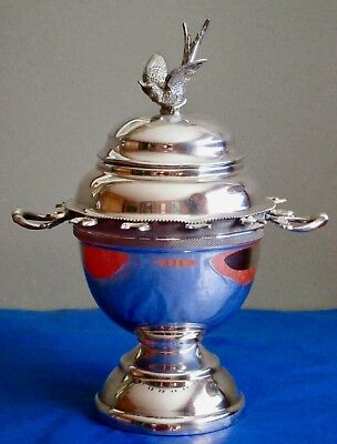 Antique Victorian Figural Bird Lid Sugar Bowl with Spoon Holders