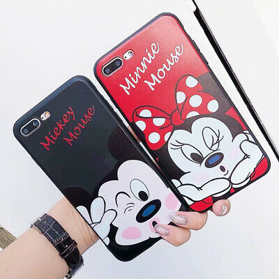 Cartoon Disney Phone Case Mickey Minnie Silicone Cover For iPhone X 8 7 6S Plus