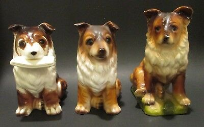 Lot of 3 Vintage Collie Figurines - made in Japan