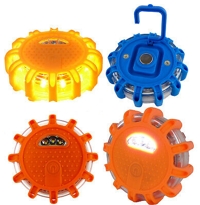 LED Safety Road Side Emergency Flares -  Warning Disc Light Beacon - 9 Modes