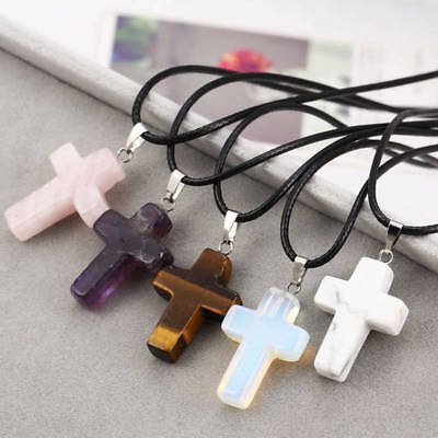 Healing Point Cross Natural Stone Quartz Crystal Pendant Necklace Chakra Leather