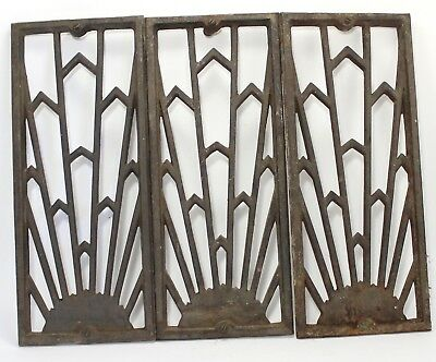 Lot 3 Antique Vtg Art Deco Mission Art Crafts Design Cast Iron Grate Vent Cover