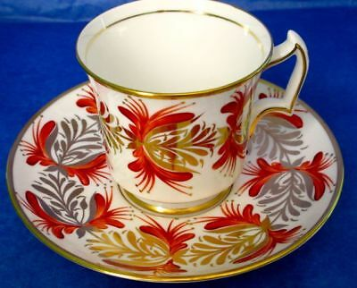 Royal Chelsea Gorgeous Hand Painted Red Gold Floral Bat Wing Handle Cup & Saucer