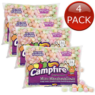 4 x CAMPFIRE MINI MARSHMALLOWS FUN FRUIT FLAVOURS 297G MALLOWS TOPPINGS SNACK