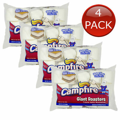 4 x CAMPFIRE GIANT ROASTERS MARSHMALLOWS GIANT SMORES CAMPING 340g JUMBO LARGE