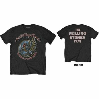 The Rolling Stones T-Shirt New 2 Sided 1978 Dragon 100% Black Cotton SM - 2XL