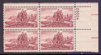 United States  1954  Lewis & Clark Expedition x 4 Plate #, MNH.