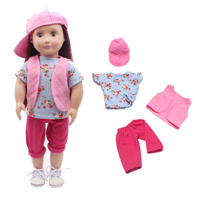 18inch Dolls Clothes Coat Shirt Pants Hat Set For American Girl Doll Accs