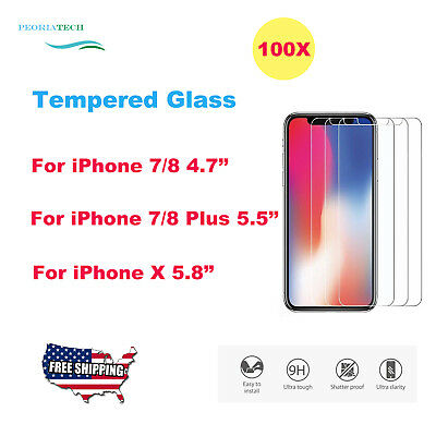 100x Wholesale Lot Tempered Glass Screen Protector for iPhone X