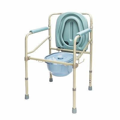 Folding Steel Bedside Commode Toilet Seat Portable Senior Adult Safe Potty Chair