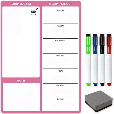A4 Pink Magnetic Weekly Meal Planner by The Magnet Shop®