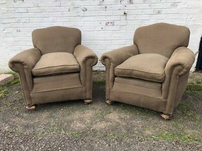 A Superb quality pair of Linen Armchairs Chairs