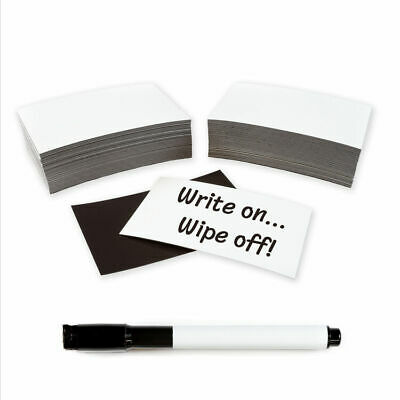 100 x Magnetic Dry Wipe Labels Whiteboard - Many Sizes!