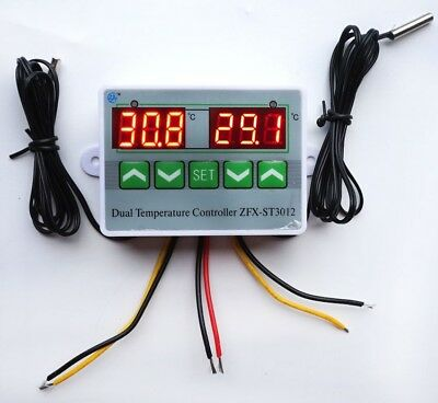 Digital Dual Thermometer Temperature Controller Thermostat Incubator Control