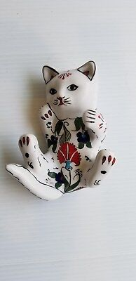 Vintage Asian  Ceramic  Floral Cat Laying on Back