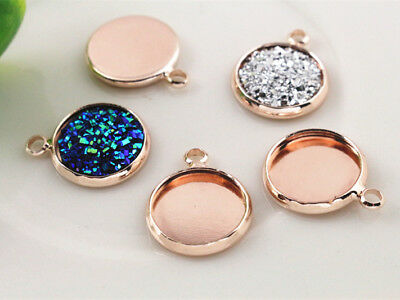 Rose Gold Plated Pendant Base | Fit 12mm Cabochons | 20pcs per pack