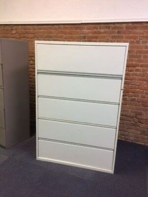 """Used 36"""" Width Five-Drawer Lateral Files in Excellent Condition with Lock"""