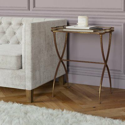 Mirrored Side Table Furniture Vintage Glass Tray Top Antique Gold Metal Base New