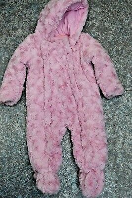 girls GEORGE padded snow suit pramsuit fluffy floral size 9-12 months