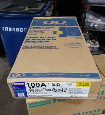 NEW Square D QO Load Center 100 Amp Main 27 Circuit 3 Phase 240v 3R QO327M100RB