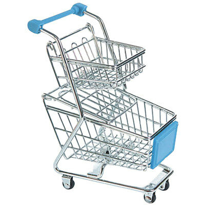 Mini Sky Blue Double-tier Shopping Trolley Cart for Kids Pretend Play Toy
