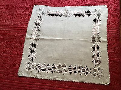 "Antique Hand Made Hardanger Lace Off White Linen Center Tablecloth 25"" Square"