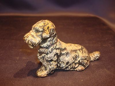 C1930-40 Painted Solid Cast Metal Sealyham Terrier Dog Figurine