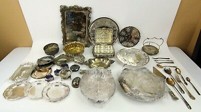 (Mixed Lot of 37) Silver Platters, Bowls, Plates, Forks, Spoons, Holders, Napkin