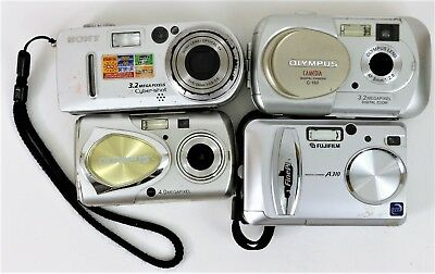 Lot of 4 Digital Cameras (2 Olympus, 1 FinePix, 1 Sony) Untested for Parts AS-IS