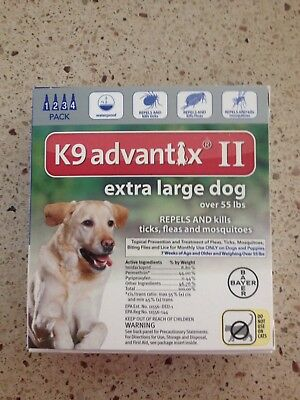 K9 Advantix Ii For Dogs Over 55 Lbs 4Pack Newest Sealed Box Epa Approved Usa