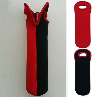 Wine Bottle Carriers Tote, Neoprene Champagne Carrier Cooler Bag Red&Black