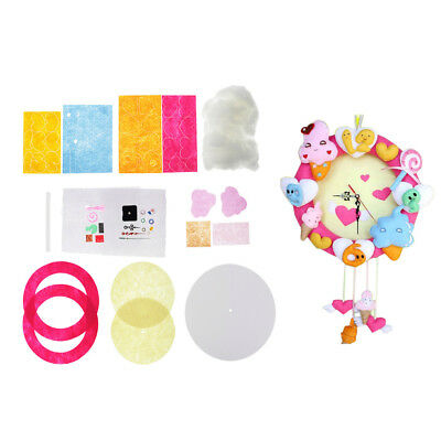 Ice Cream Clock Toy DIY Craft Sewing Felt Applique Kit For Felt Fabric Craft