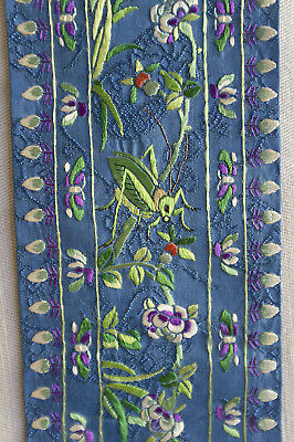 Pair antique Chinese silk embroidered sleeve panels - grasshoppers