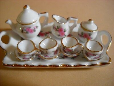 Dollhouse Miniature Tea Set And Tray