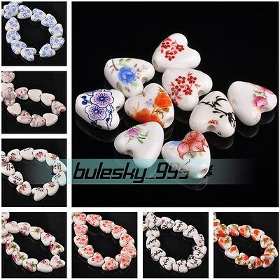 Wholesale 14mm Heart Shape Ceramic Porcelain Flower Patterns Charms Loose Beads