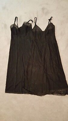 Lot of 2 black full lacy slips; Size 34