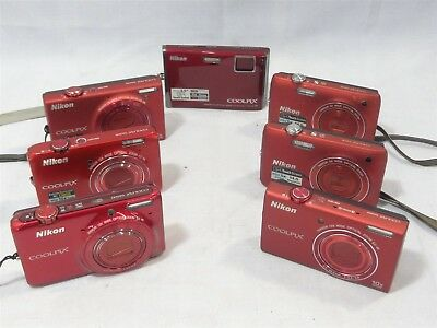 Lot 7 Red Nikon Coolpix Point&Shoot Digital Cameras **Untested/Parts/Repair