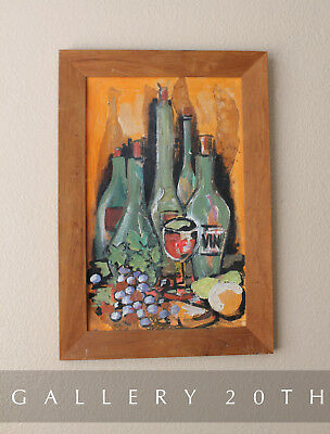 Mid Century Modern Orig  Oil Still Life Painting! 50S 60S Art Kitchen Vino Vtg