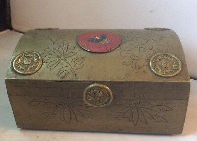 Antique Chinese Export Brass & Enamel Engraved Domed Casket / Trinket Box