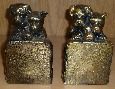 Vintage Scotty Scottie Dogs Hanging on Fence Cast Metal Bookends Brass Finish