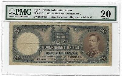 1940 Fiji 5 Shillings, PMG 20 VF, P-37c, Low Serial Number 631, Scarce as Such.