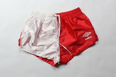 """Vintage 90s New UMBRO Youth Large Spell Out 2"""" Shiny Nylon Soccer Shorts Red"""