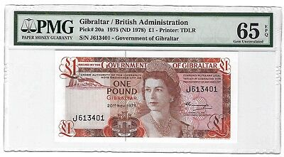 1975 (1978) Gibraltar 1 Pound, PMG 65 EPQ GEM UNC, P-20a First Date of New Type