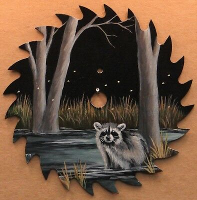 Hand Painted Saw Blade Raccoon in Stream Cabin Lodge Farm Country Decor